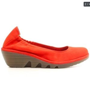 LONDON FLY POPPY ORANGE WEGDE SHOES